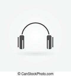 logotipo, auricular, o, icono
