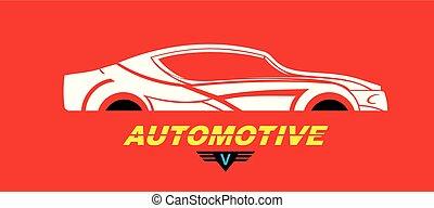 logotipo, automobile, bianco rosso, elegante