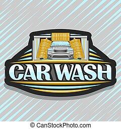 logotipo, automobile, vettore, automatico, lavare