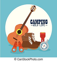 logotipo, aventura ao ar livre, acampamento
