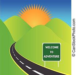 logotipo, avventura, strada, sole