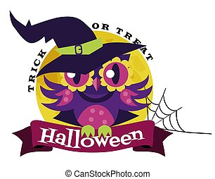 logotipo, búho, en, halloween el traje, de, witch., misterio, night-bird, en, hechicería, traje, sentado, con, potty, poción, en, rama de árbol, vector, illustration., víspera all hallows, concept., aislado, blanco, fondo.