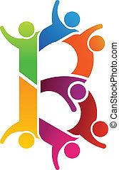 logotipo, b, lettera, persone