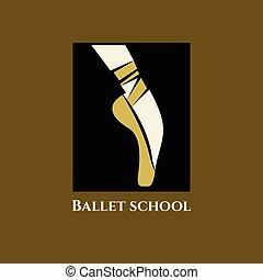 logotipo, balletto, vettore, scuola