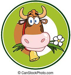 logotipo, bandeira, caricatura, vaca, mascote