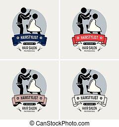 logotipo, barbiere, acconciatore, design.