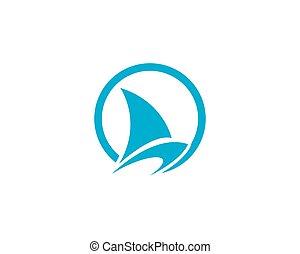 logotipo, barca naviga