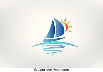 logotipo, barca, onde, e, sole, vettore