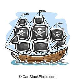 logotipo, barco, vector, pirata, navegación