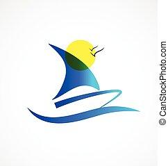 logotipo, barco, y, sol