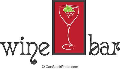 logotipo, barra, vino