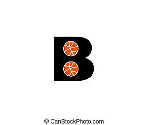 logotipo, basquetebol, b, modelo, letra