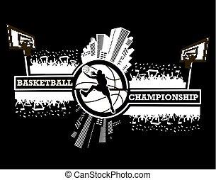 logotipo, basquetebol, campeonato