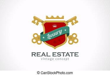 logotipo, beni immobili, vendemmia, luxury., chiavi, e, scudo, con, ribbon.