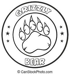 logotipo, bianco, orso nero, zampa