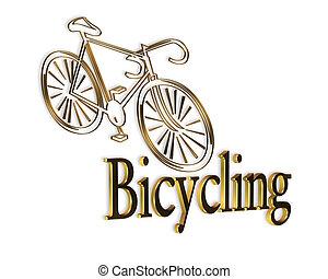 logotipo, bicicleta, ouro, ciclismo