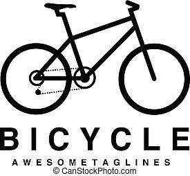 logotipo, bicicleta, vector, montaña