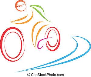 logotipo, bicicletta, ciclismo