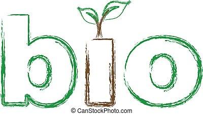 logotipo, bio, sketched