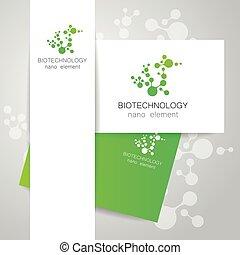 logotipo, biotecnologia, nano