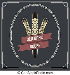 logotipo, birra, etichetta, fondo, vendemmia