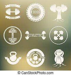 logotipo, blanco, gimnasio, entrenamiento, cruz