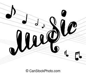 logotipo, blanco, música