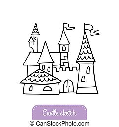 logotipo, bom, magia, bandeira, cartão, doodle, fairytale, saudação, ilustração, castle., hand-drawn, vetorial, kingdom., convite, flyer., castelo, ou, caricatura