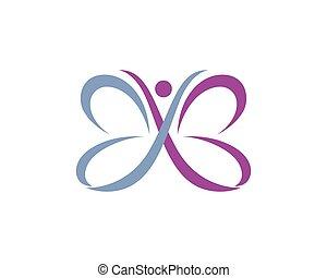 logotipo, borboleta, modelo