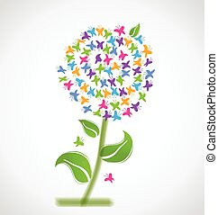 logotipo, borboletas, flor, primavera