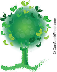logotipo, borboletas, flores, árvore