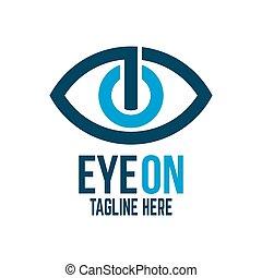 logotipo, botão, modernos, olho, poder