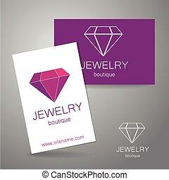 logotipo, boutique, jóia, sinal