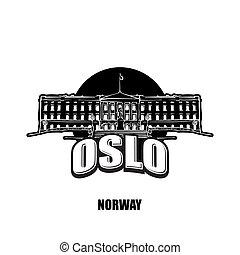 logotipo, branca, pretas, noruega, oslo