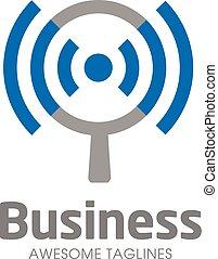 logotipo, busca, conceito, wifi