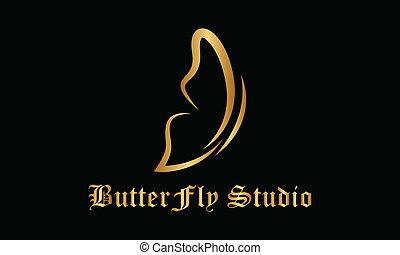 logotipo, butterfly., vetorial
