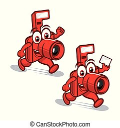 logotipo, câmera, mascote