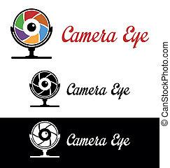 logotipo, câmera, olho
