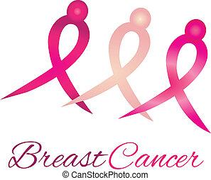 logotipo, câncer, fita, consciência, peito
