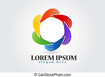 logotipo, círculo, mãos