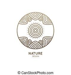 logotipo, círculo, sol, montanhas