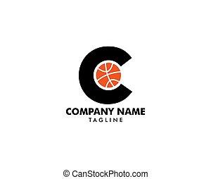 logotipo, c, basquetebol, letra, modelo