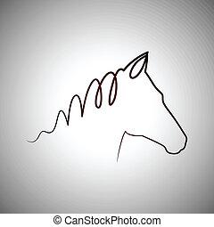 logotipo, caballo, dibujo