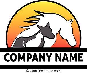 logotipo, caballo, perro, gato