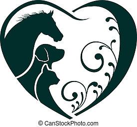 logotipo, caballo, perro, y, gato, adore corazón