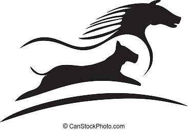 logotipo, caballo, silueta, perro