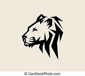 logotipo, cabeça, leão