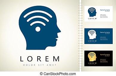 logotipo, cabeça, wifi, macho
