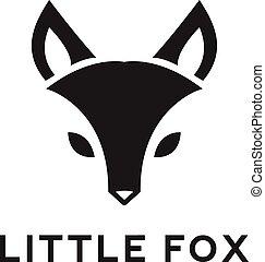 logotipo, cabeza, vector, zorro, minimalistic