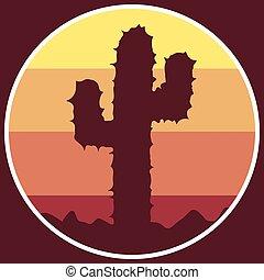 logotipo, cacto, deserto, ícone